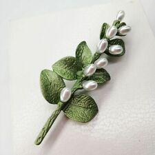 Irish thorns Yugali leaf imitation holeless pearl green paint brooch color: broo