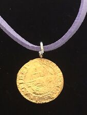 """Elizabeth I Quarter Angel Coin WC51 Gold Pewter On a 18"""" Purple Cord Necklace"""