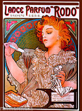 """Rodo""  Perfume Toiletry French Nouveau Mucha Vintage Advertisement Art Poster"