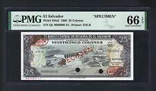 El Salvador 25 Colones 27-12-1966  P104s2 Specimen TDLR Uncirculated Graded 66