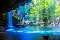 8.5 X 11 Inch Metallic Luster Photo W. Frame HD Wall Art Nature Waterfall Beauty