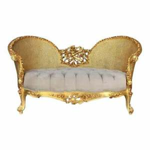 Contemporary French Louis XVI Style Gold and Gray Settee.