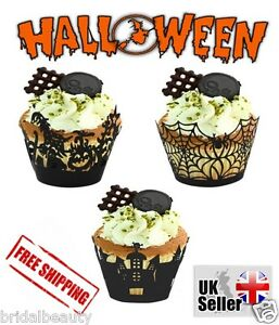 Halloween CupCake Muffin Wrapper Table Decoration Witch Spider Spooky Haunted