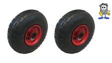 """2x 10 """"pneumatico 4.10 - 4 Valvola Dritta 20mm Sack Truck RUOTE METALLO CENTRO"""