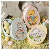 Set/3 Bethany Lowe Easter Pastel Bunny Duck Lamb Egg Retro Vntg Decor Candy Box