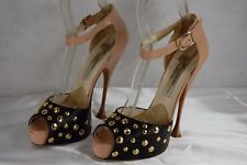 SUPER BEAUTIFUL!!! BRIAN ATWOOD HIGH HEEL STUDDED NUDE & BLACK PUMPS EU 37 US 7