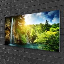 Glasbilder 100x50 Wandbild Druck auf Glas Wasserfall Bäume Landschaft