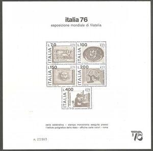 1976 Italia Repubblica Cartoncino Italia 76 recante al retro annullo della manif