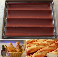 4 Loaf Non-stick Fiberglass Baguette French Bread Pan Bakery Stainelss Frame