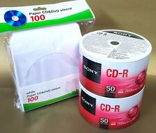 100 SONY Blank CD-R CDR Logo Top 48X 700MB Recordable Media Disc + 100 Sleeves
