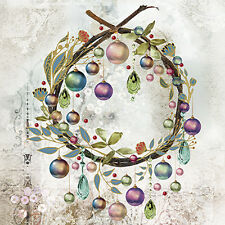 Christmas 20 Paper Lunch Napkins CRYSTAL BAUBLES - Festive Elegance Wreath