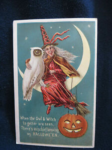 Antique Halloween EmbossedRed Witch and Owl Sitting on the Moon Postcard Vintage
