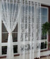 Curtain Sheer Voile Tulle Lace Curtain Embroidered Drape Window Valance 1 Panel