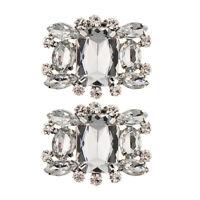 2PCS Alloy Shoes Clips Bridal Wedding Rhinestone Crystal Shoe Buckle Decor
