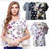 New Womens Sexy Chiffon Casual Short sleeve Flower Print Tropical Shirt Blouses