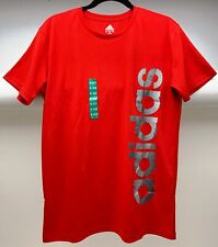 Adidas Boys' Short Sleeve Shirt with Side Logo, Red, Large - NEW