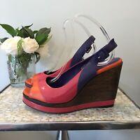 Boden Eu 40 UK 7 Multi coloured peep toe sling back wedges summer holiday shoes