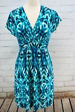 SOMA INTIMATES V-Neck Wrap Sundress Knit Dress Size XS Ikat Blue Print