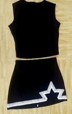 "Adult Black Silver Cheerleader Uniform Top Skirt 38-40/28-29"" Cosplay Goth New"