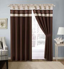 4-Pc Jaden Medallion Clover Embroidery Curtain Set Brown Beige White Sheer Liner