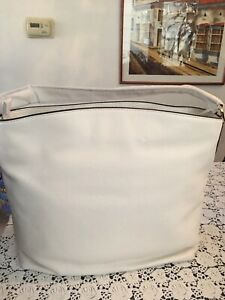 Michael Kors Evie Optic White Pebbled Leather Hobo Shoulder Bag Gold Trim