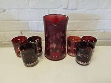 Vintage Cranberry Flash Glass Pitcher and 6 Cup Set w/ Etched Floral Dec.