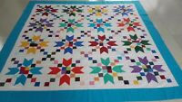 Queen size Machine pieced patchwork quilt top #J-63