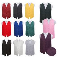 Mens Waistcoat Woven Floral Paisley Formal Wedding Tuxedo Vest Suit by DQT