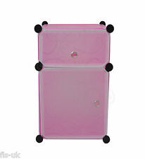 MODULAR 2 CUBE STORAGE SOLUTION ORGANISER / SHELVES / UNIT / FURNITURE - PINK