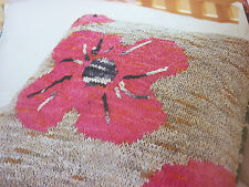 Pattern For Lovely Poppy Cushion In 3 Colours Of Colinette Giotto-Size 18ins Sq.