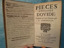Thomas CORNEILLE : PIECES CHOISIES D'OVIDE, 1670.