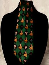 Scooby-Doo Cartoon Network Christmas Hollie Candy Canes Green Black Silk Tie