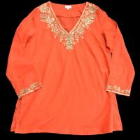 Ladies EAST Tunic Top Orange Red Size Medium Uk 12 14 Gauze Cotton Kaftan Summer