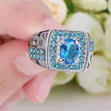 Men's (Blue) Aquamarine 10kt white Gold Filled Fashion Wedding Ring Gift Size 7