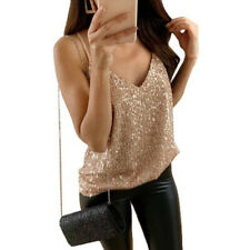 Stylish Women Camisole Tank Top Sequin Vest Bling Spaghetti Strap Glitter Slim