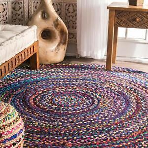 Dhurrie Floor Braided Handmade Reversible Multi Cotton Mat Rag Rugs Round -3 Ft