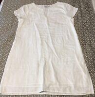 Vineyard Vines White Linen Dress Sz 12 Beaded Neckline Lightweight Short Sleev