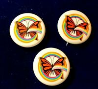 Vintage Butterfly Rainbow Pin Set of Three Button Pin Mariposa Brooch 1970's