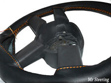 BLACK LEATHER STEERING WHEEL COVER FOR DAF XF 105 TRUCK 06-12 ORANGE STITCHING