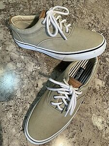 Sperry Top Sider Striper LL CVO Salt Washed Sneaker Chino Tan Canvas Men's 9.5