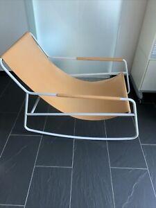 rocking Chair Schaukelstuhl  Stuhl Sessel Leder Metall Scandic Design