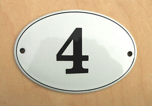 HOUSE NUMBER 4 CLASSIC ENAMEL SIGN. BLACK No.4 ON A WHITE BACKGROUND. 12x8cm.