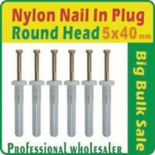 1000 X Nylon Nail in Plug 5 X 40mm Round Head Anchor Knock Ins