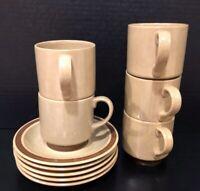 Vintage Hearthside Dogwood Stoneware Set Of 5 mugs/saucers - NO CHIPS/CRACKS!!!