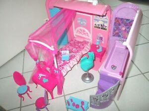 """Barbie Schlafzimmer + Bad """"Die Prinzessin und der Popstar"""" Kofferhaus X3706"""