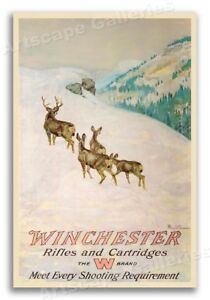1912 Hunting Poster Winchester Rifles and Cartridges Deer Hunting - 16x24