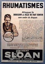 Publicite Liniment Sloan contre rhumatismes   1939  advert