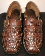 Stacy Adams Brown Woven Leather Buckle Slip On Huarache Sandals Shoes Men's 8.5