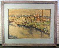 Mid Century Watercolor Harbor Landscape Signed