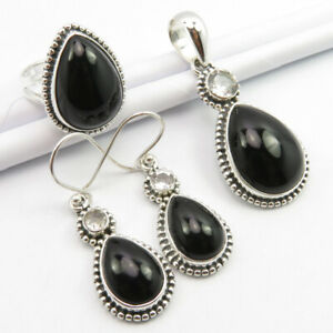925 Silver AAA Quality BLACK ONYX & BLUE TOPAZ Jewelry SET